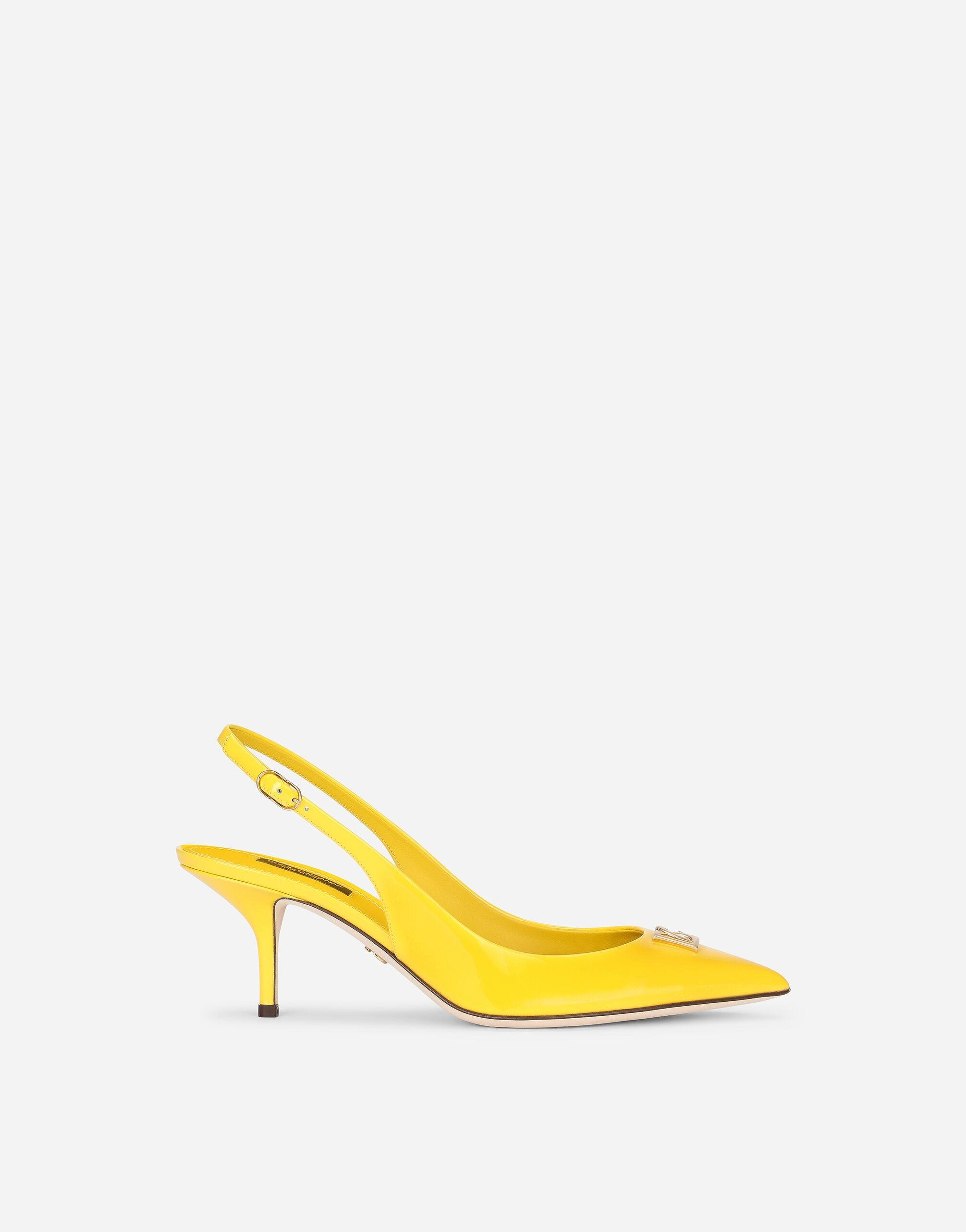 Patent leather slingbacks with DG logo