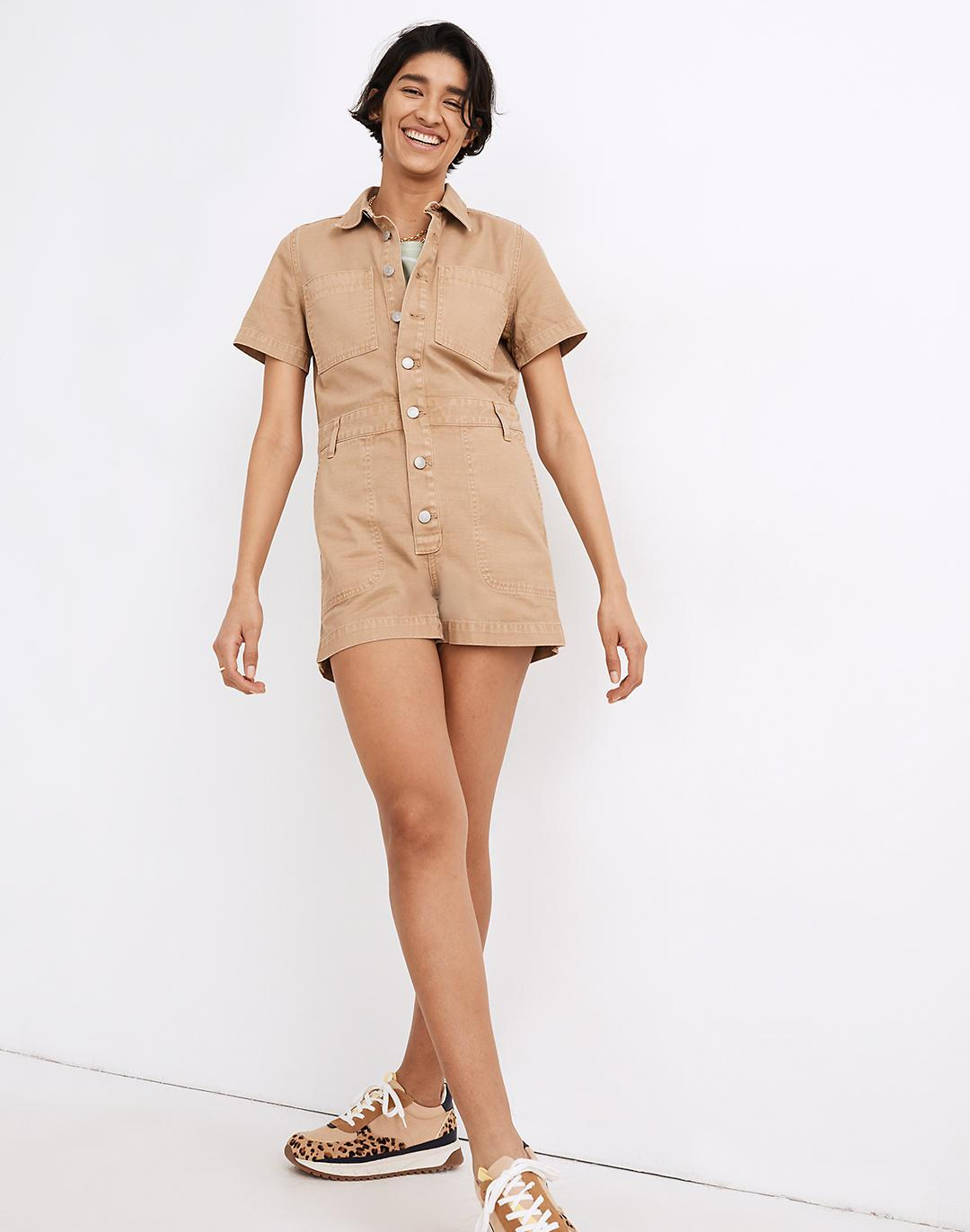 Garment-Dyed Relaxed Coverall Romper