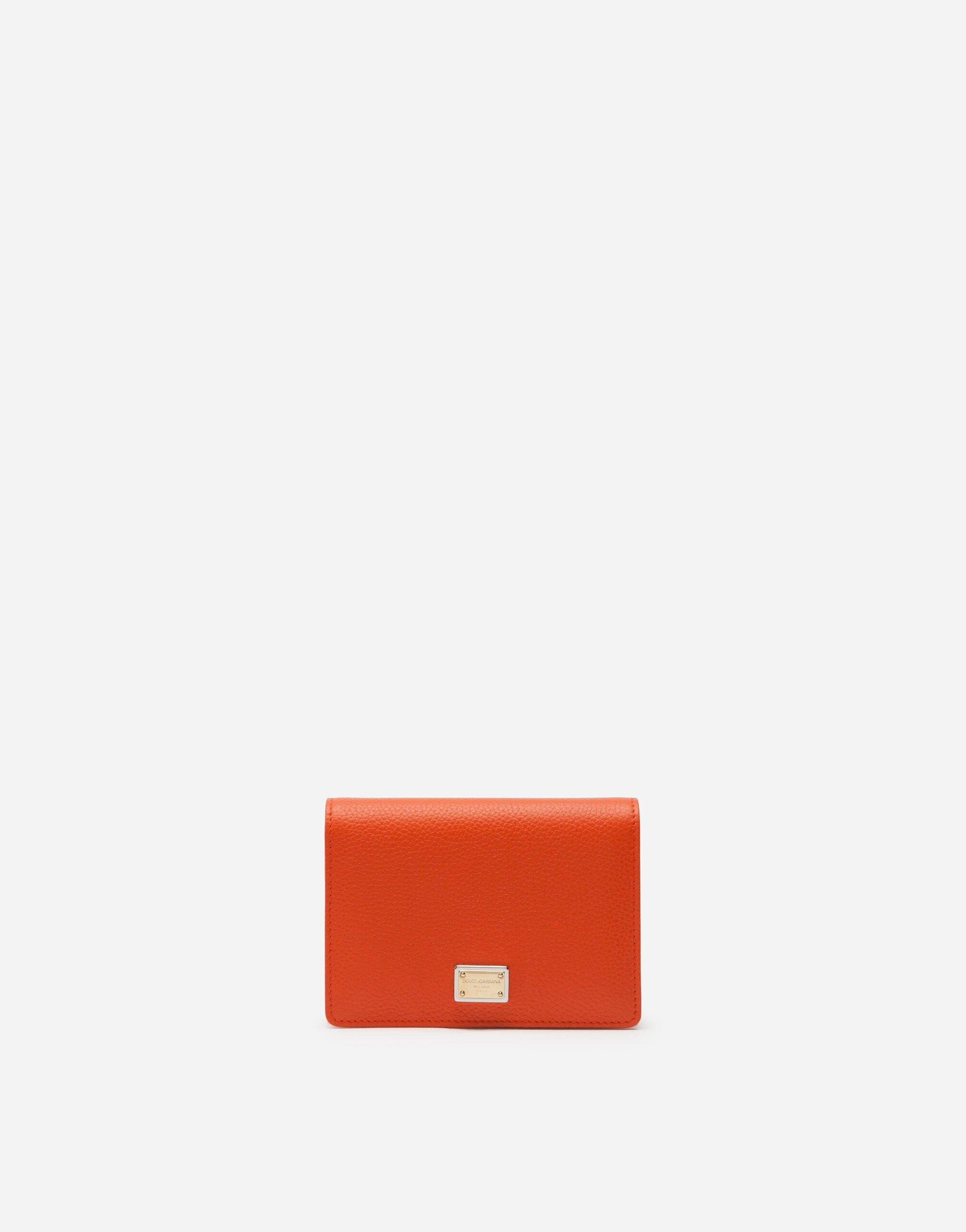 Tumbled calfskin wallet with chain detail