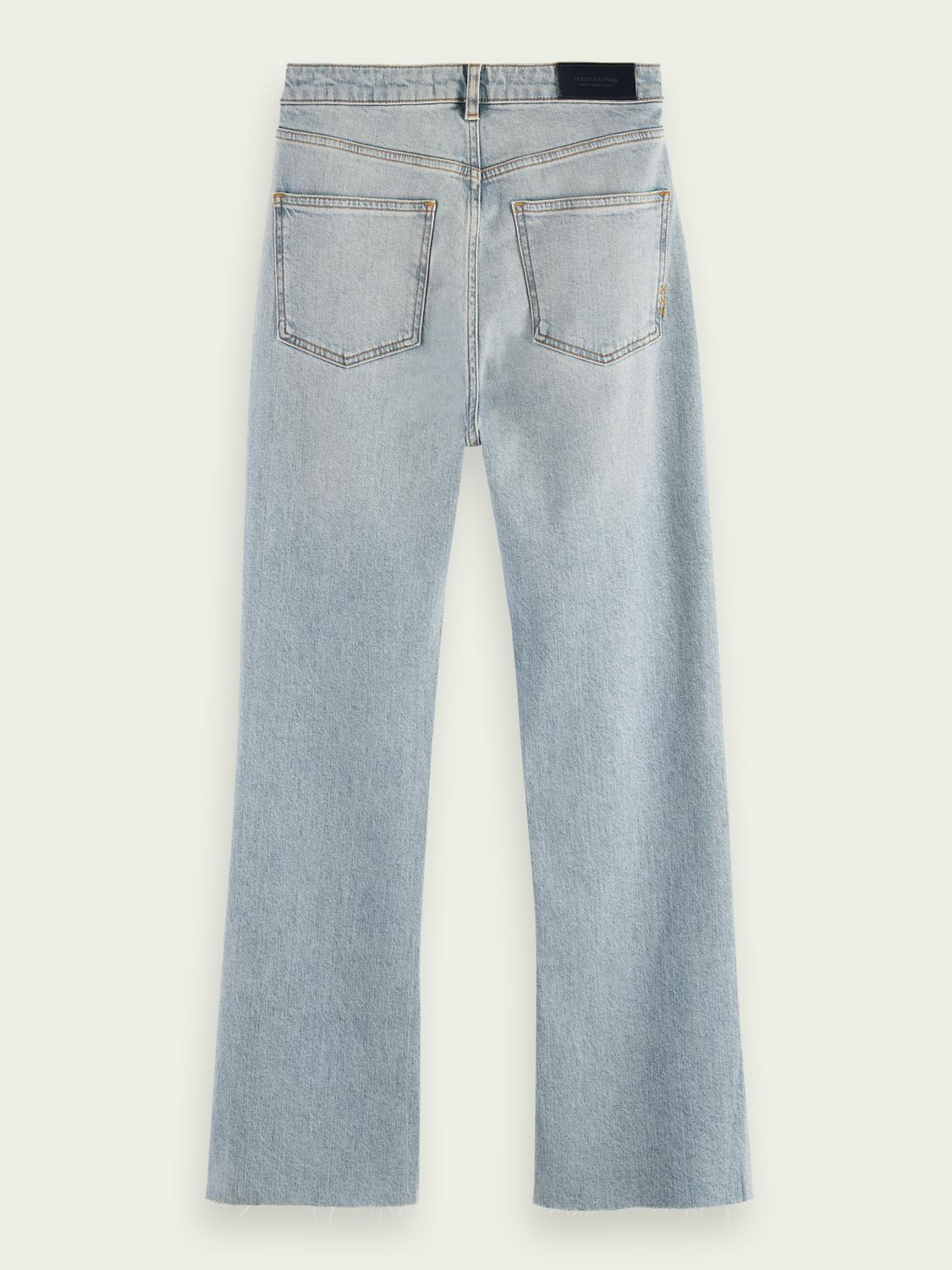 High-rise cropped flare denim trousers 6