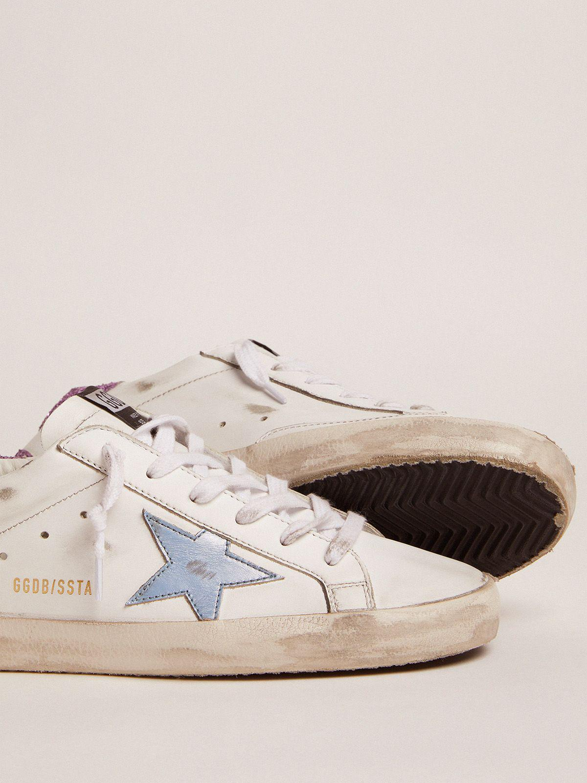 Super-Star sneakers with lavender glitter heel tab and light-blue metallic leather star 2