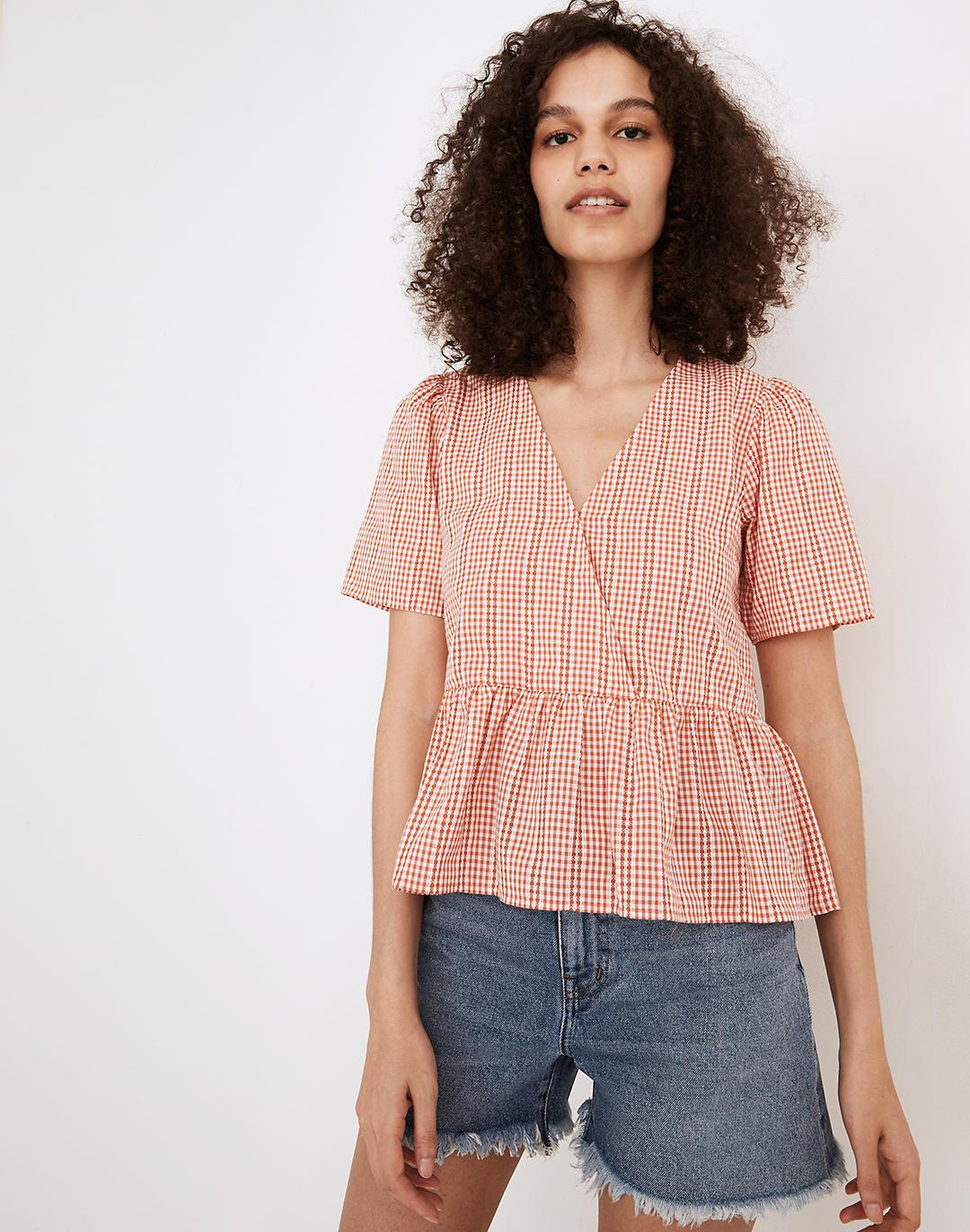 Crossover Peplum Top in Textured Gingham Check