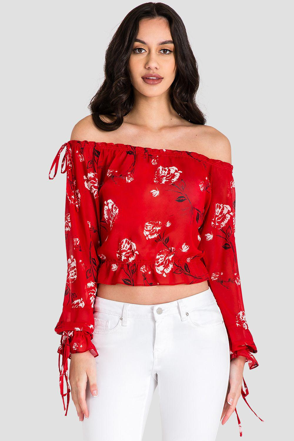 Marina Off Shoulder Tie Sleeve Red Blouse 4
