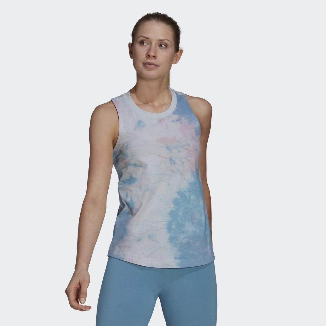 Tie-Dyed Effect Tank Top Clear Pink