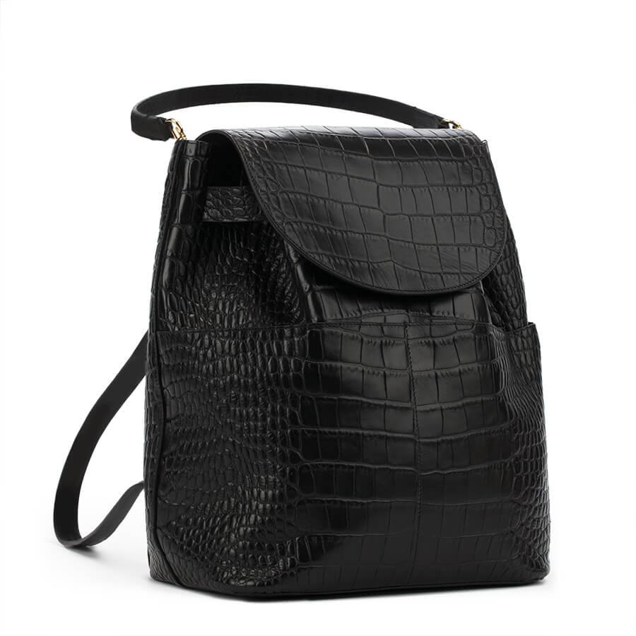 Women's Leather Backpack in Textured Black | Croc-Embossed by Cuyana