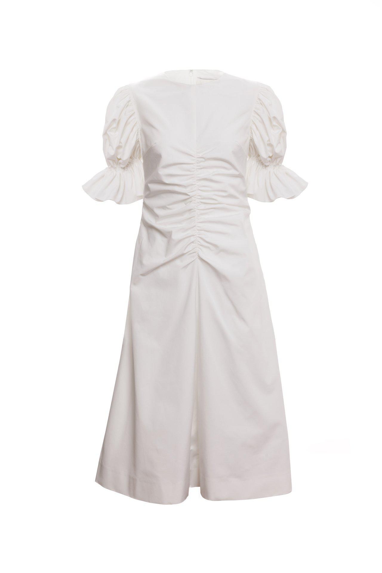 Flare Sleeve Ruched A Line Dress (Ivory) 3