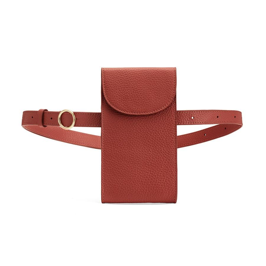 Women's Convertible Belt Bag in Rust | Pebbled Leather by Cuyana