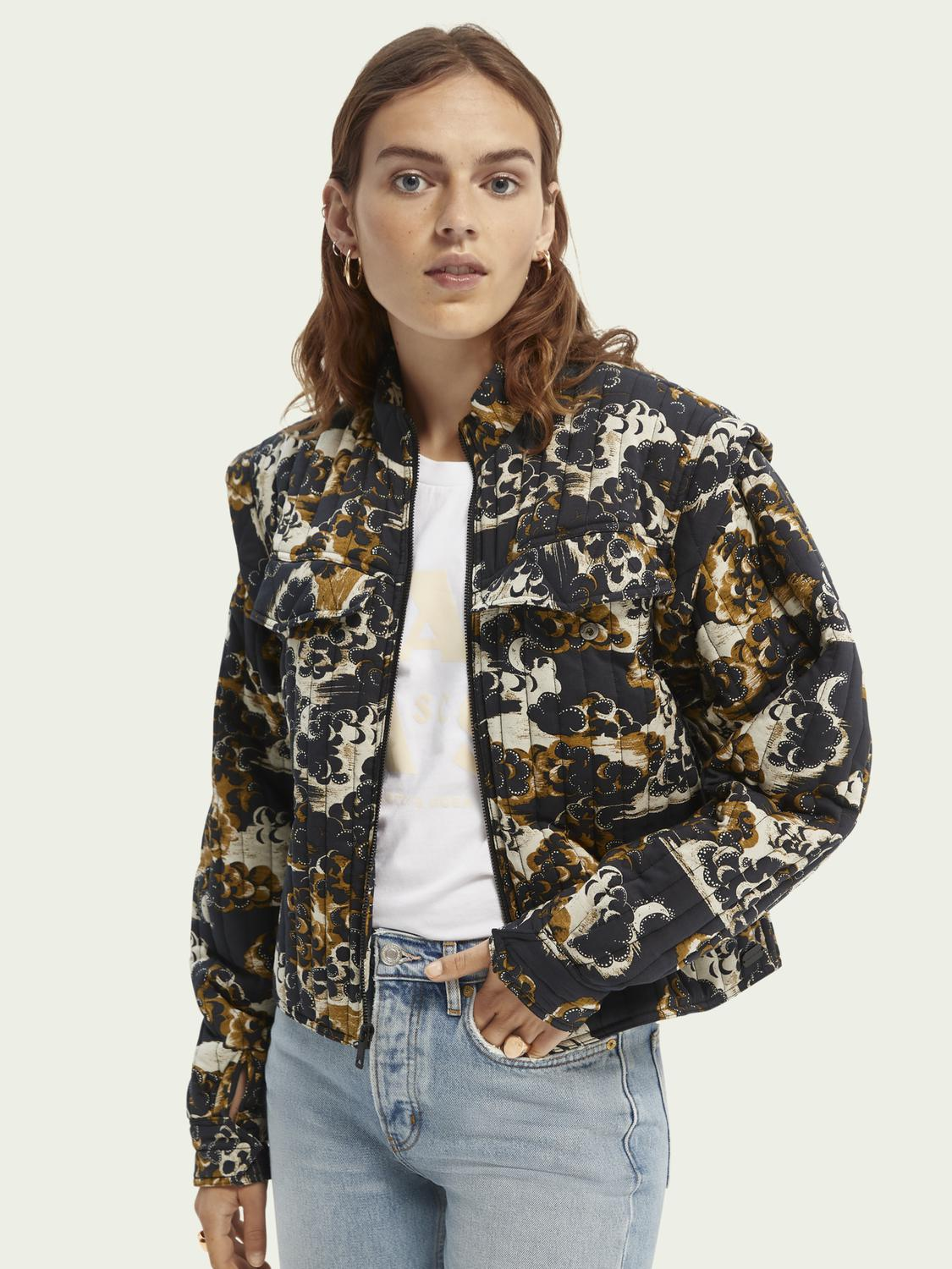 Printed quilted jacket with removable sleeves