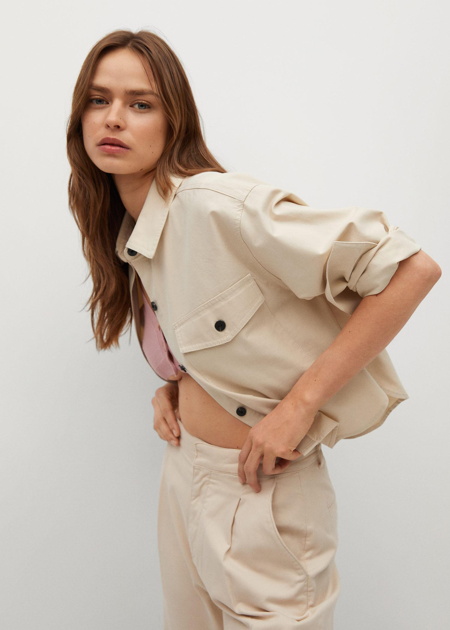 Cropped cotton overshirt 4