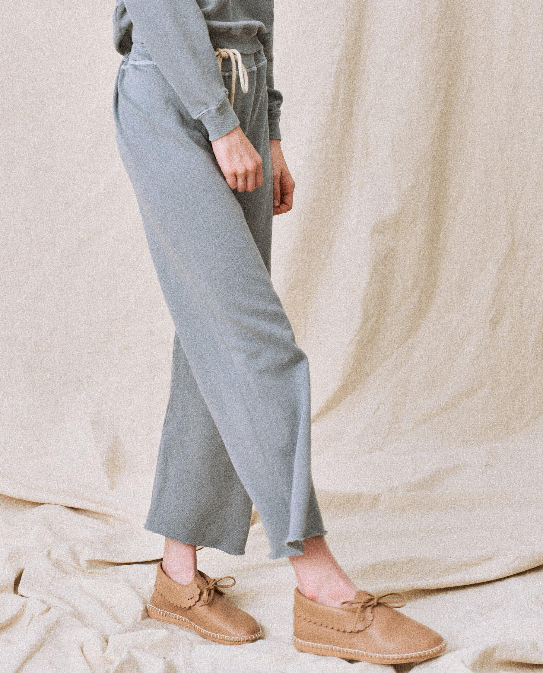 The Wide Leg Cropped Sweatpant. -- Dusty Blue 2
