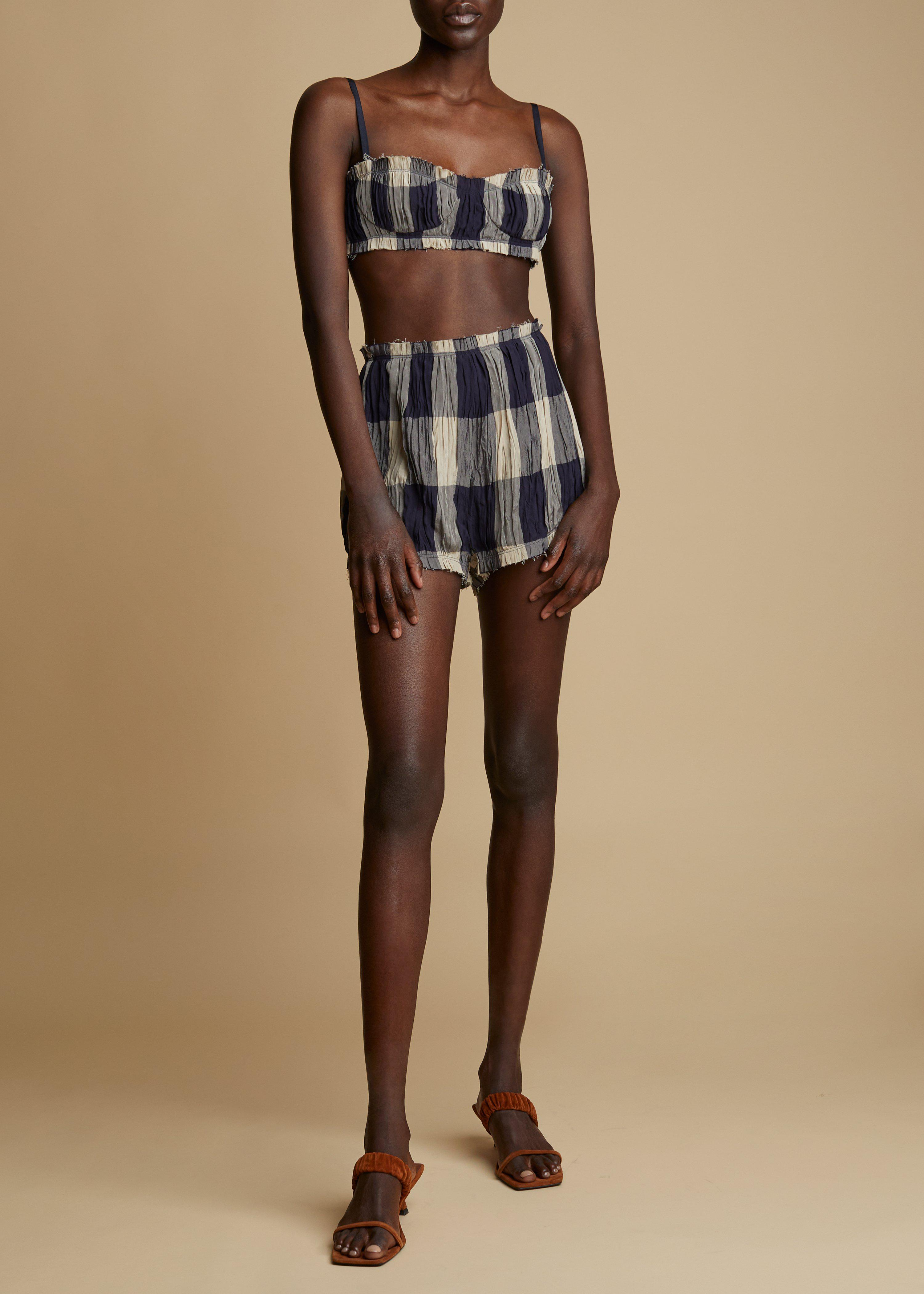 The Hilary Short in Navy and Sand Check