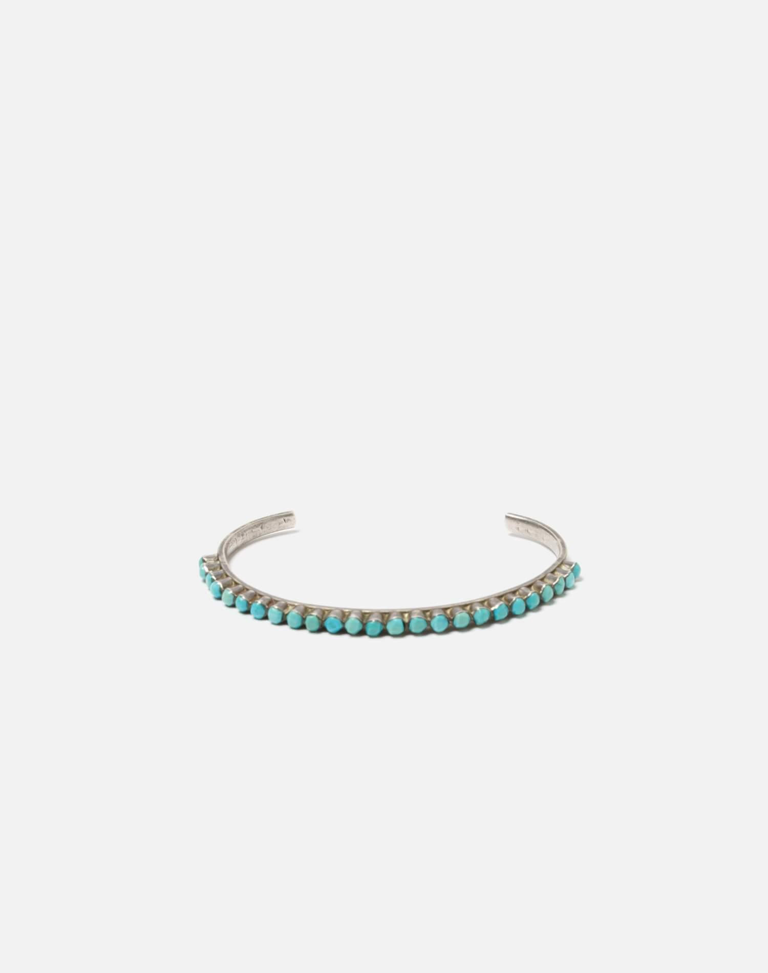 1940s Sterling Silver And Round Turquoise Zuni Snake Eyes Bracelet - #90