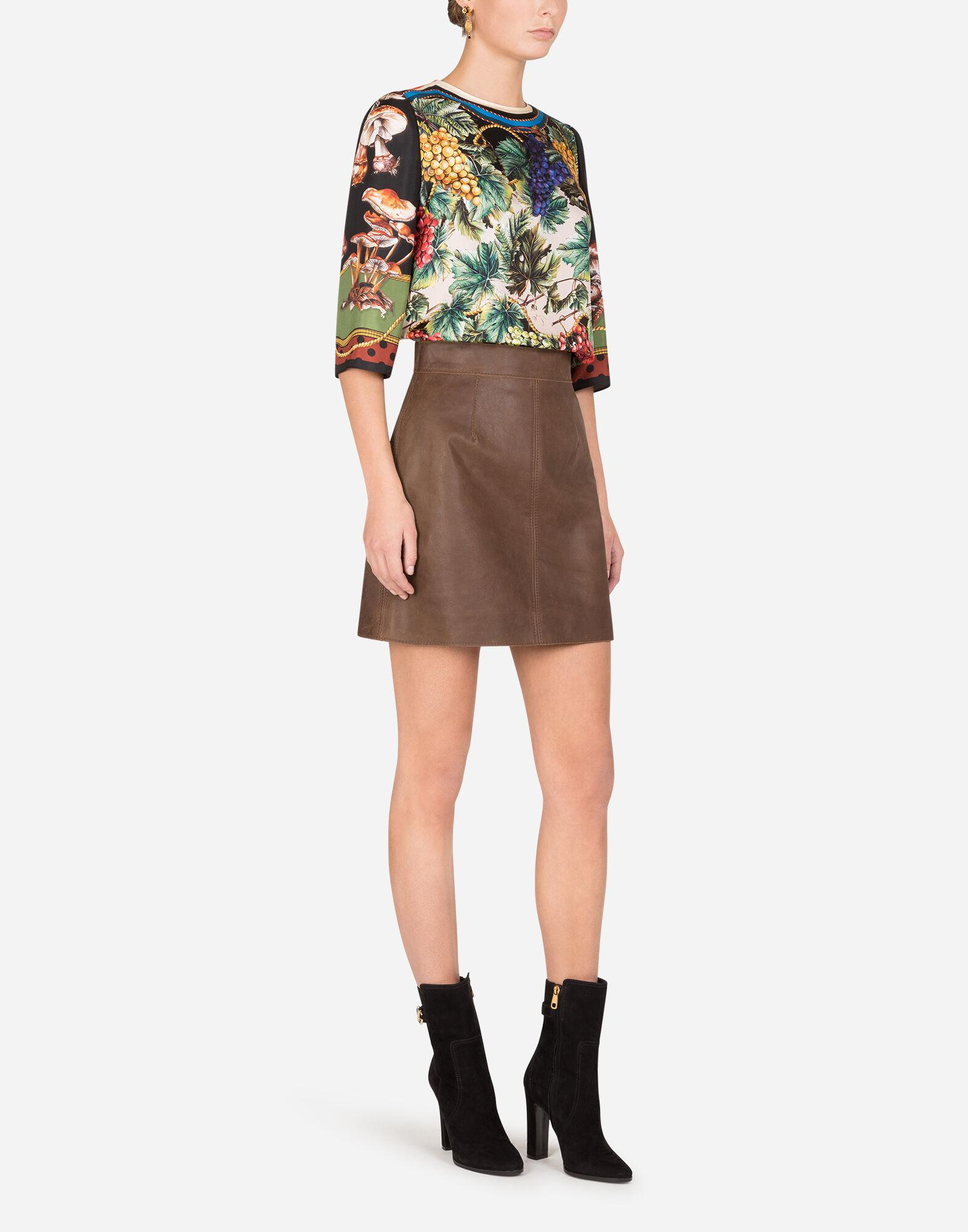 A-line miniskirt in hammered nappa leather 3
