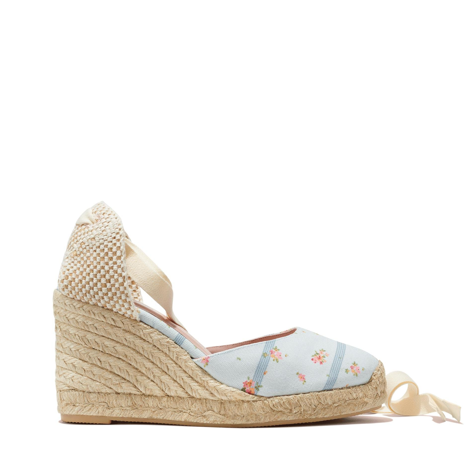 Gal Meets Glam x Margaux - The Espadrille in Blue Floral Stripe