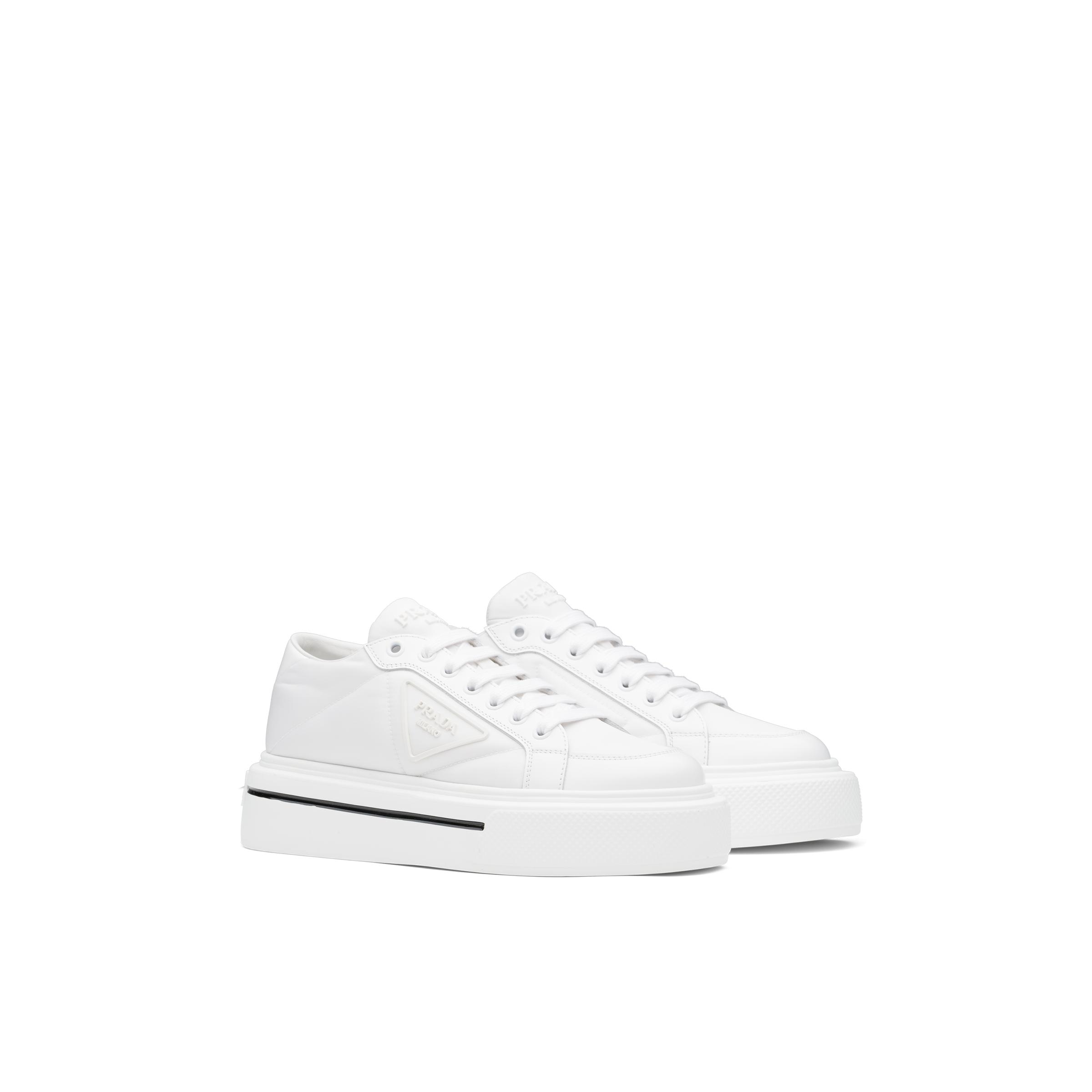 Macro Re-nylon And Brushed Leather Sneakers Women White