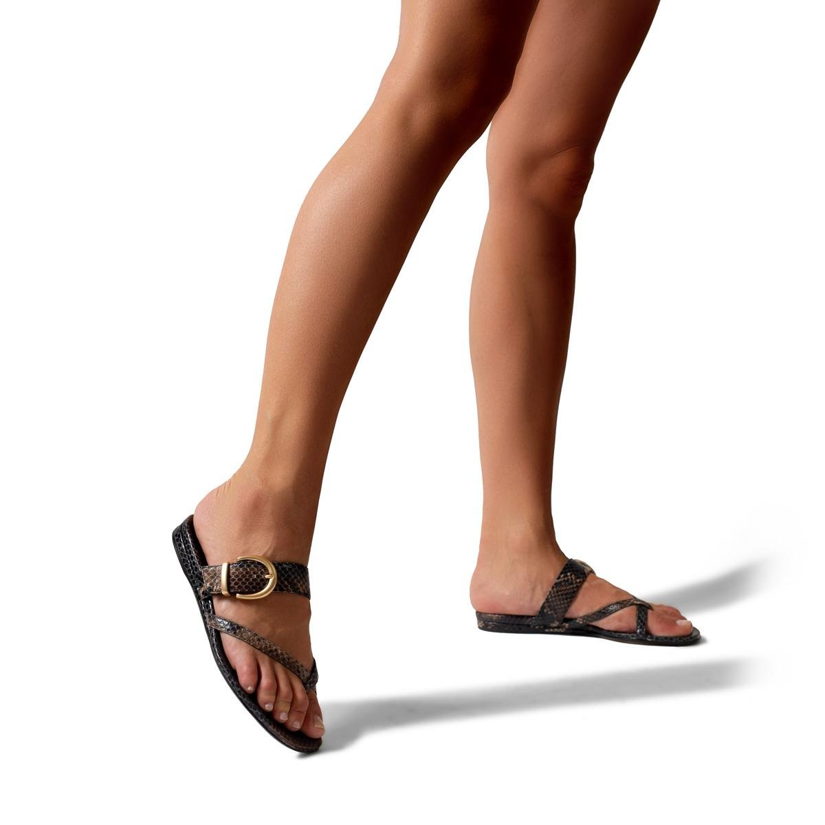 Hayley | Leather Thong Sandal With Metal Buckle Detail 3