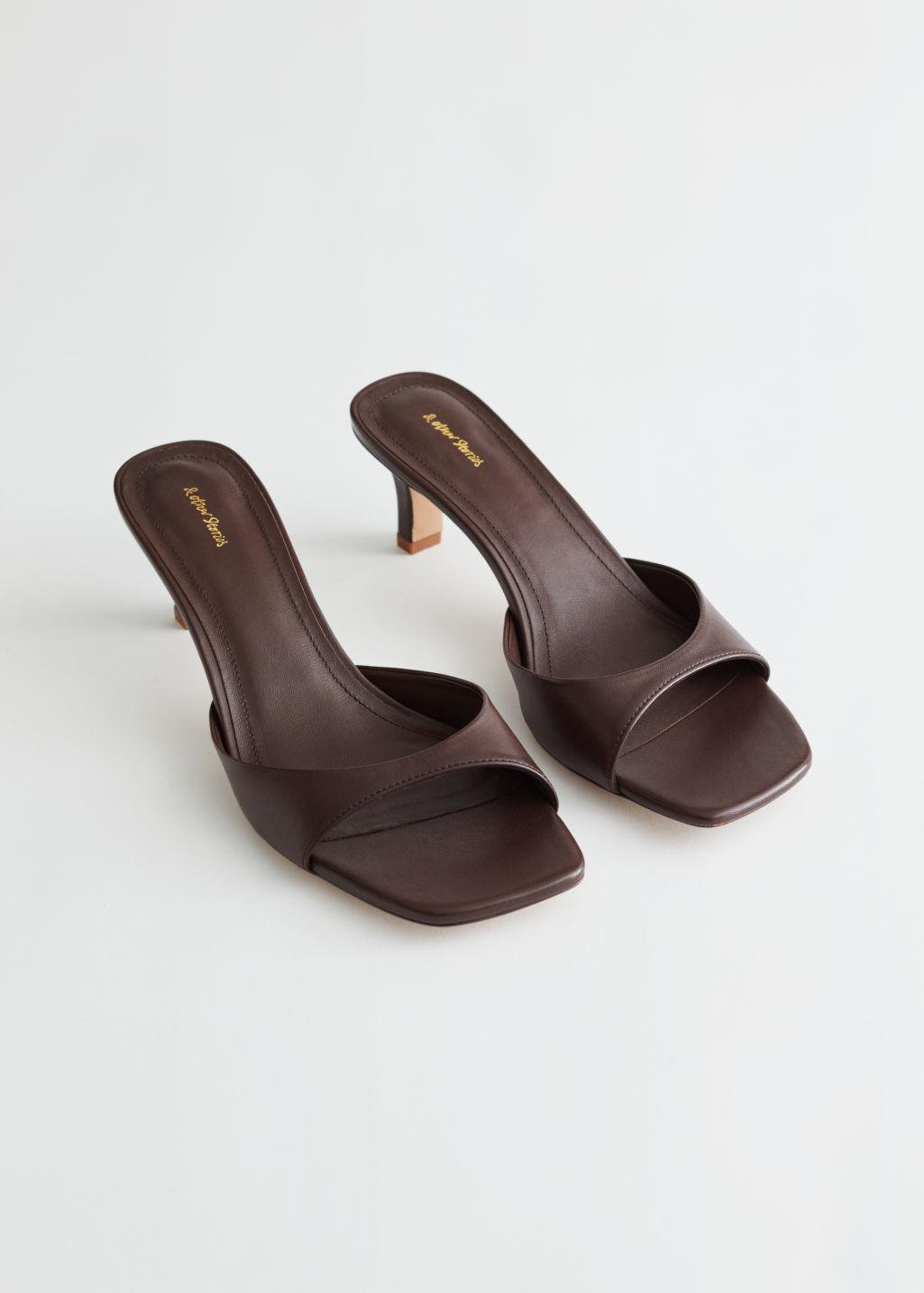 Flared Heel Leather Mules