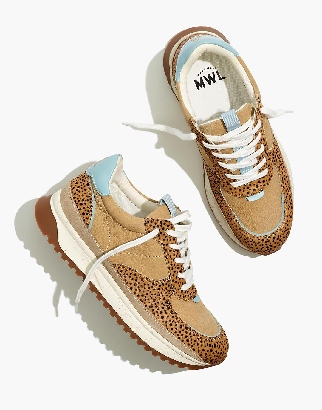 Kickoff Trainer Sneakers in Spot Dot Calf Hair and Nubuck