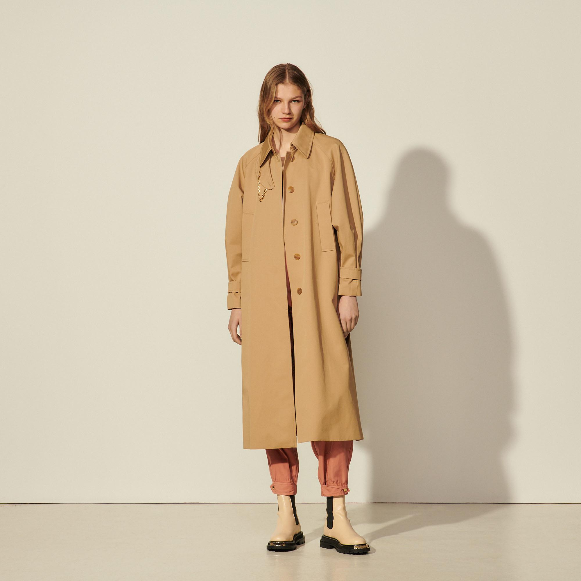 Cotton trench coat with detachable chain 3