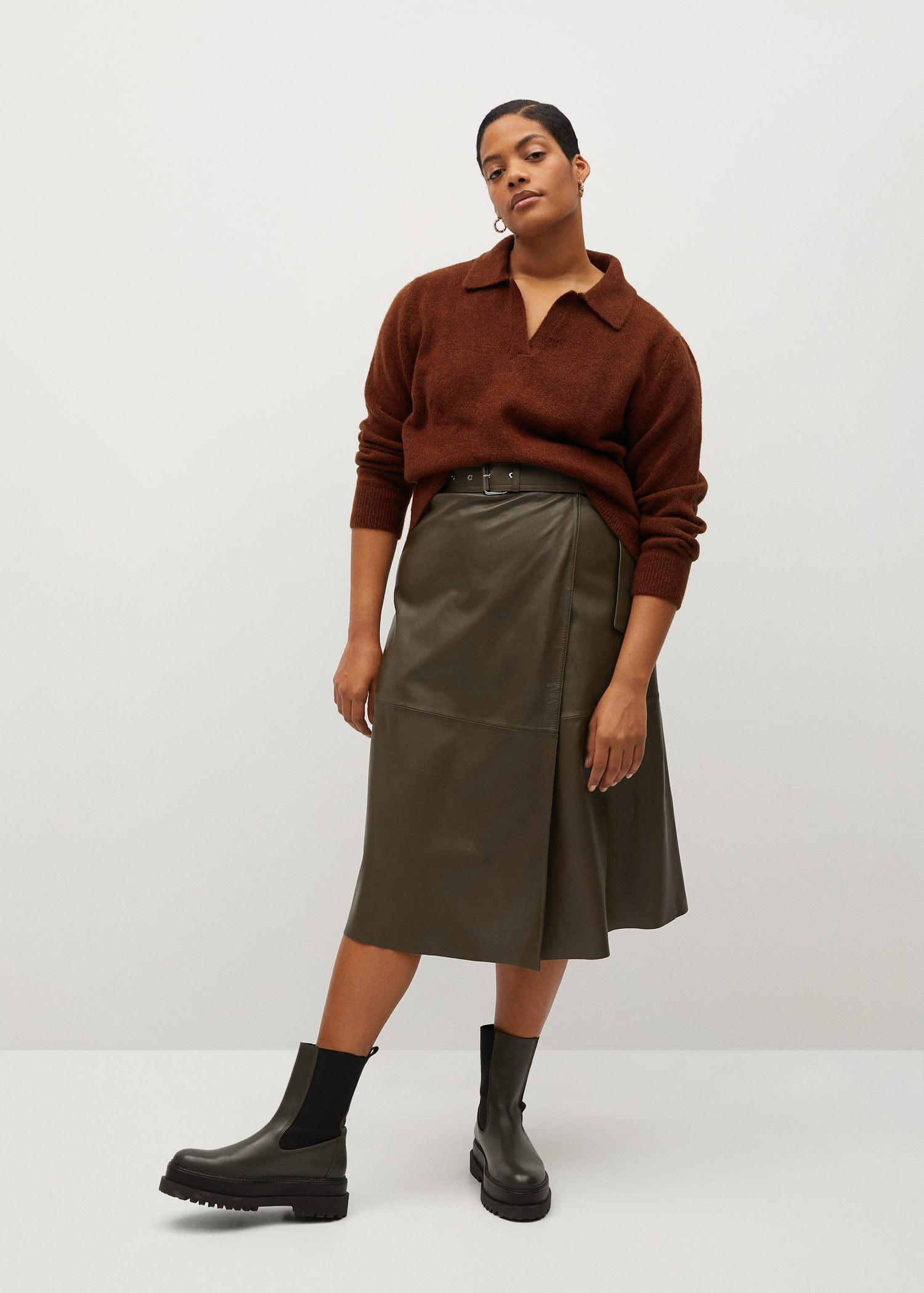 Cut-out faux-leather skirt
