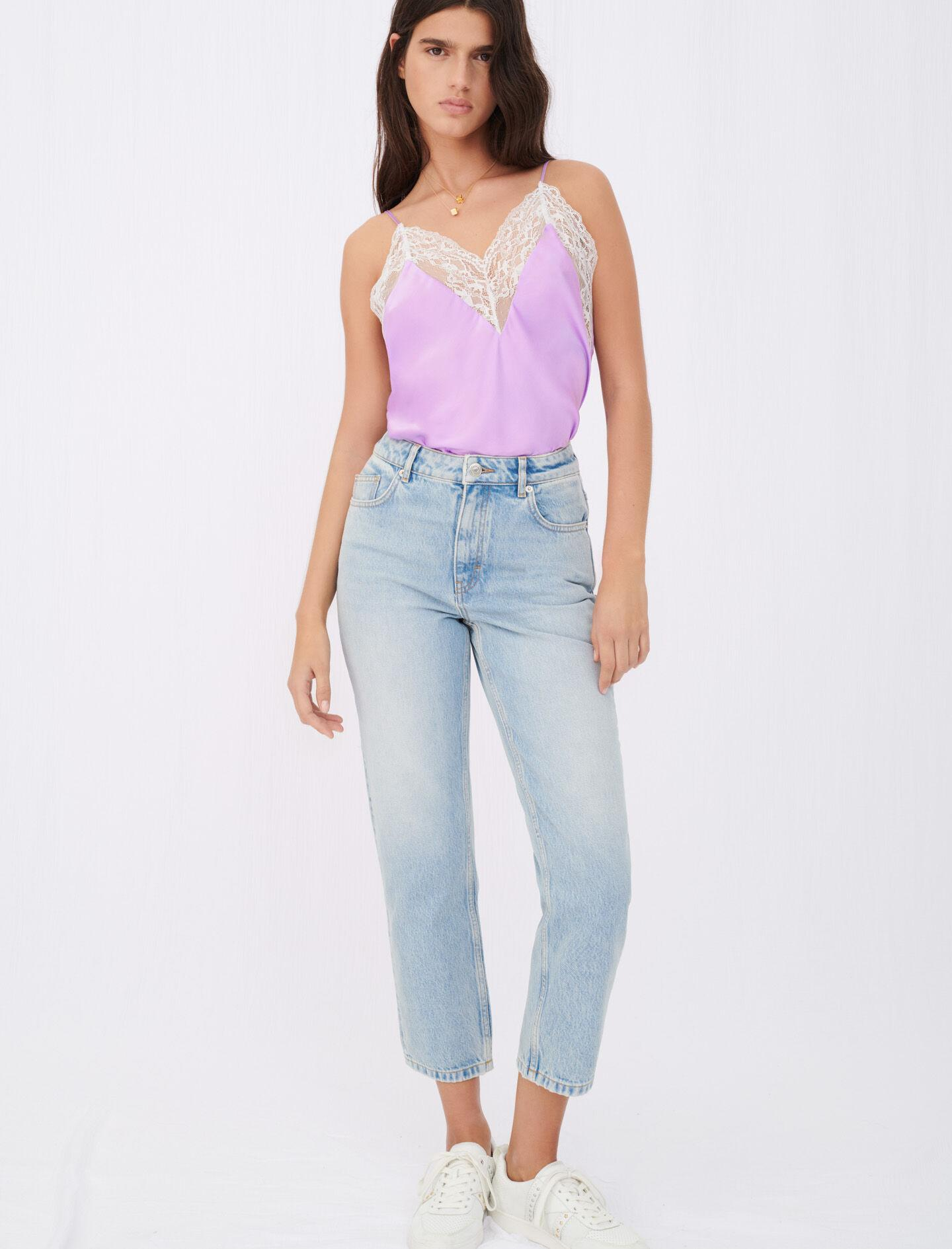 SILK SATIN AND LACE TOP 1