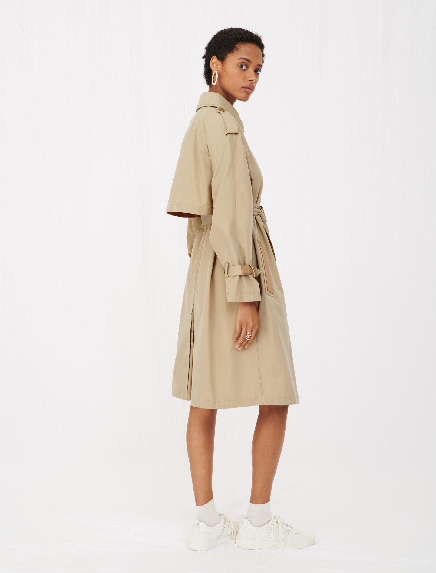 BELTED TRENCH COAT WITH LEATHER PATCHES