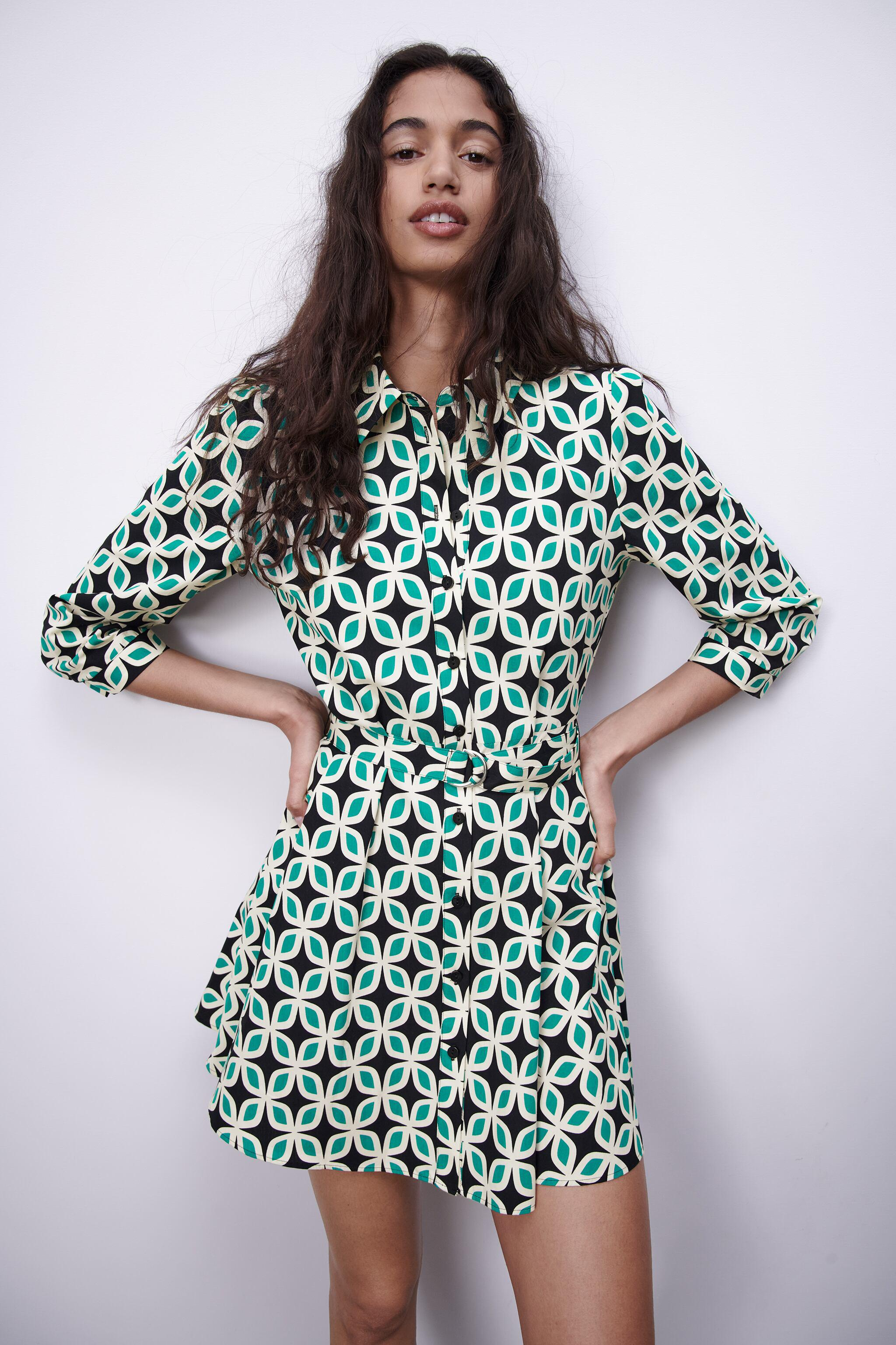 PRINTED DRESS WITH BELT 2