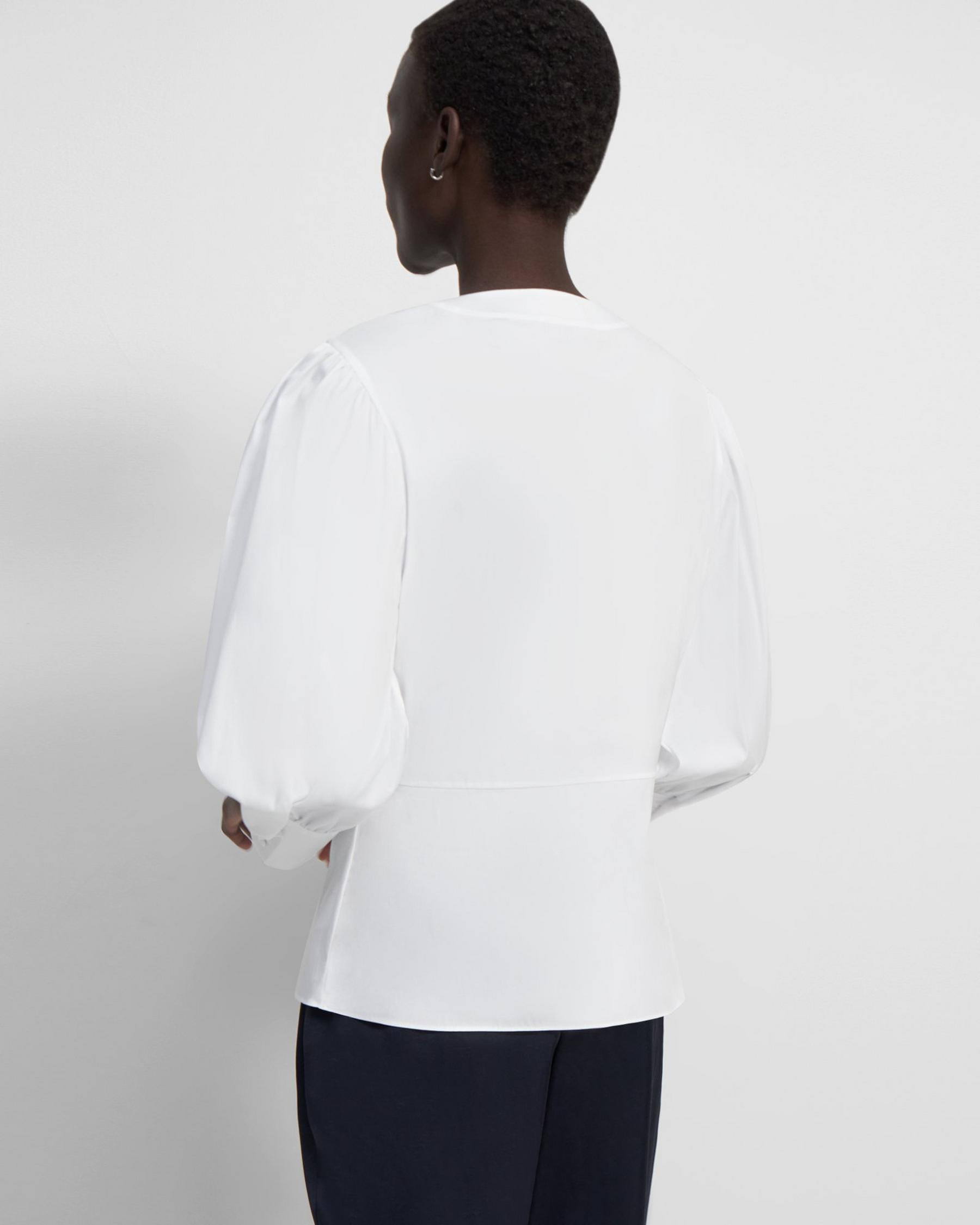 Gathered-Sleeve Top in Good Cotton 3