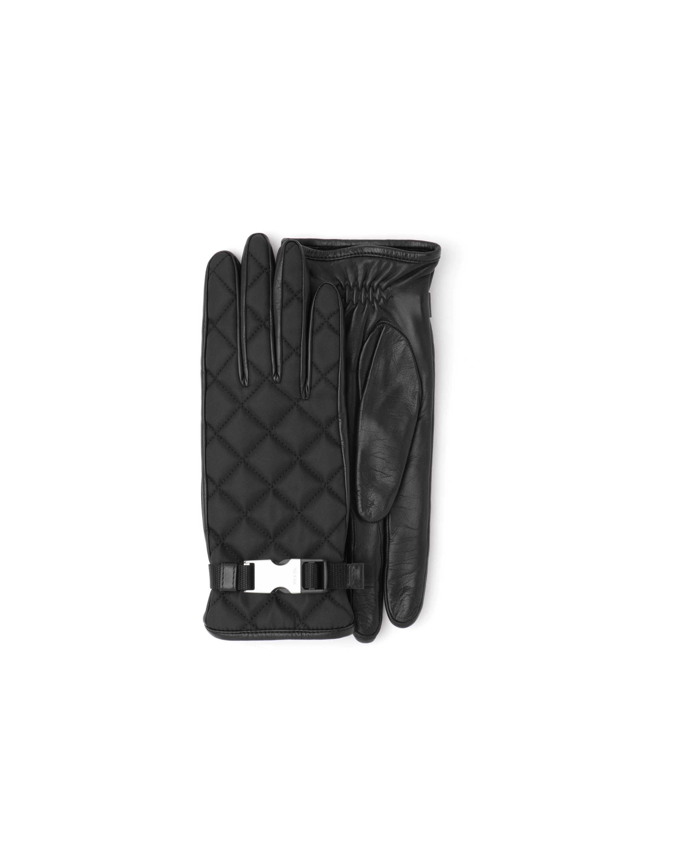 Quilted Nylon And Nappa Leather Gloves Women Black 3