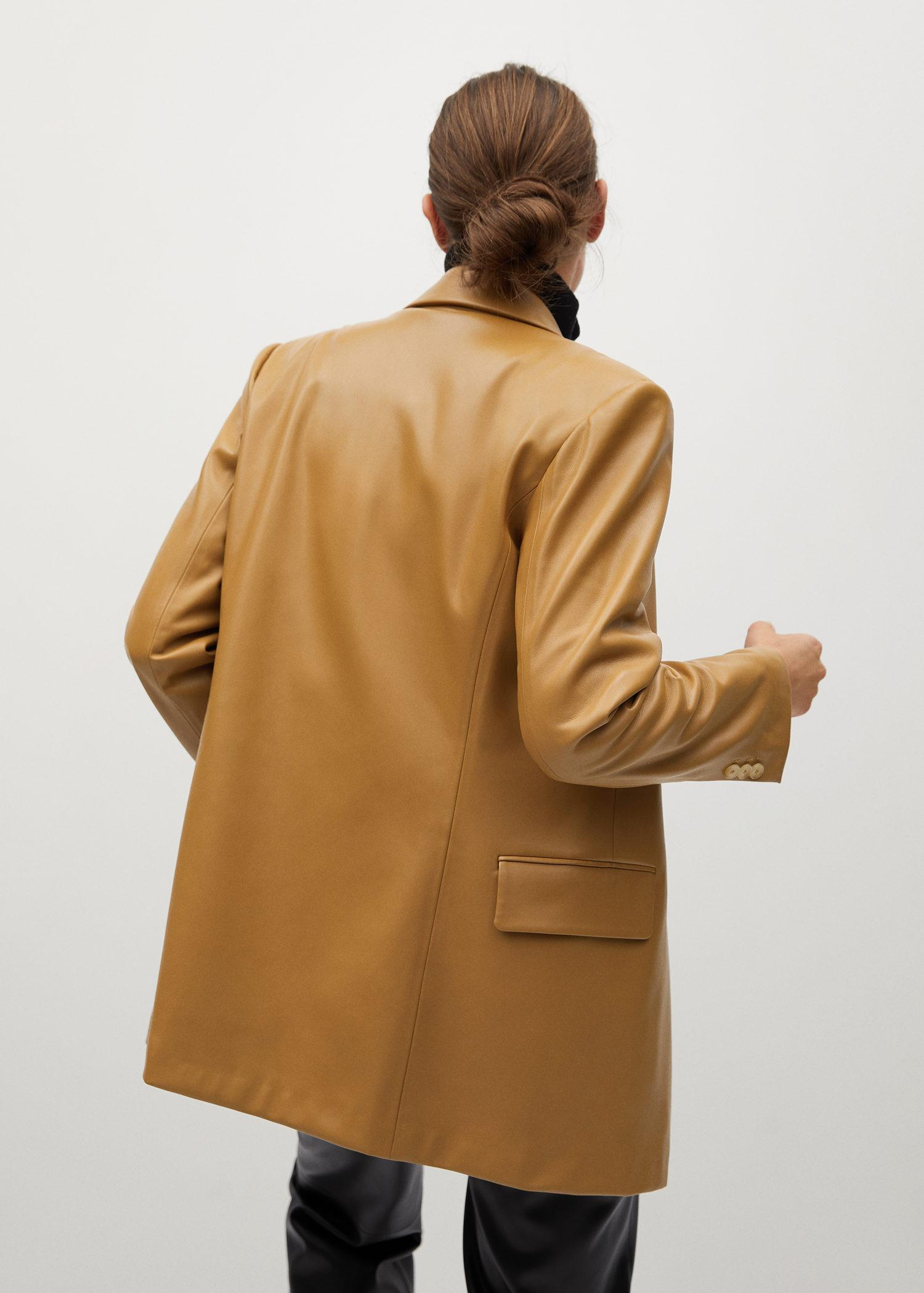 Faux-leather double-breasted blazer 2