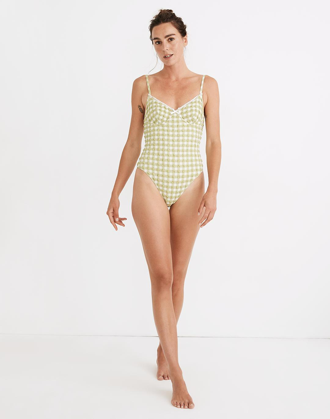 Madewell x Solid & Striped® Taylor One-Piece Swimsuit in Textural Gingham