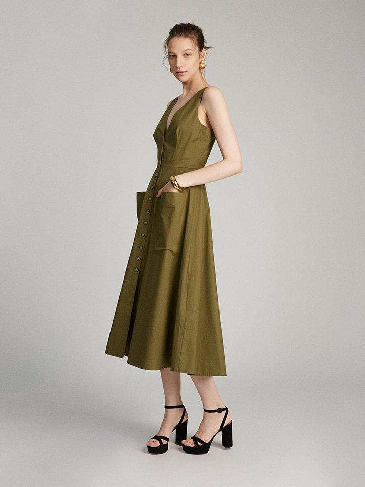 Zoey Dress in Military Green