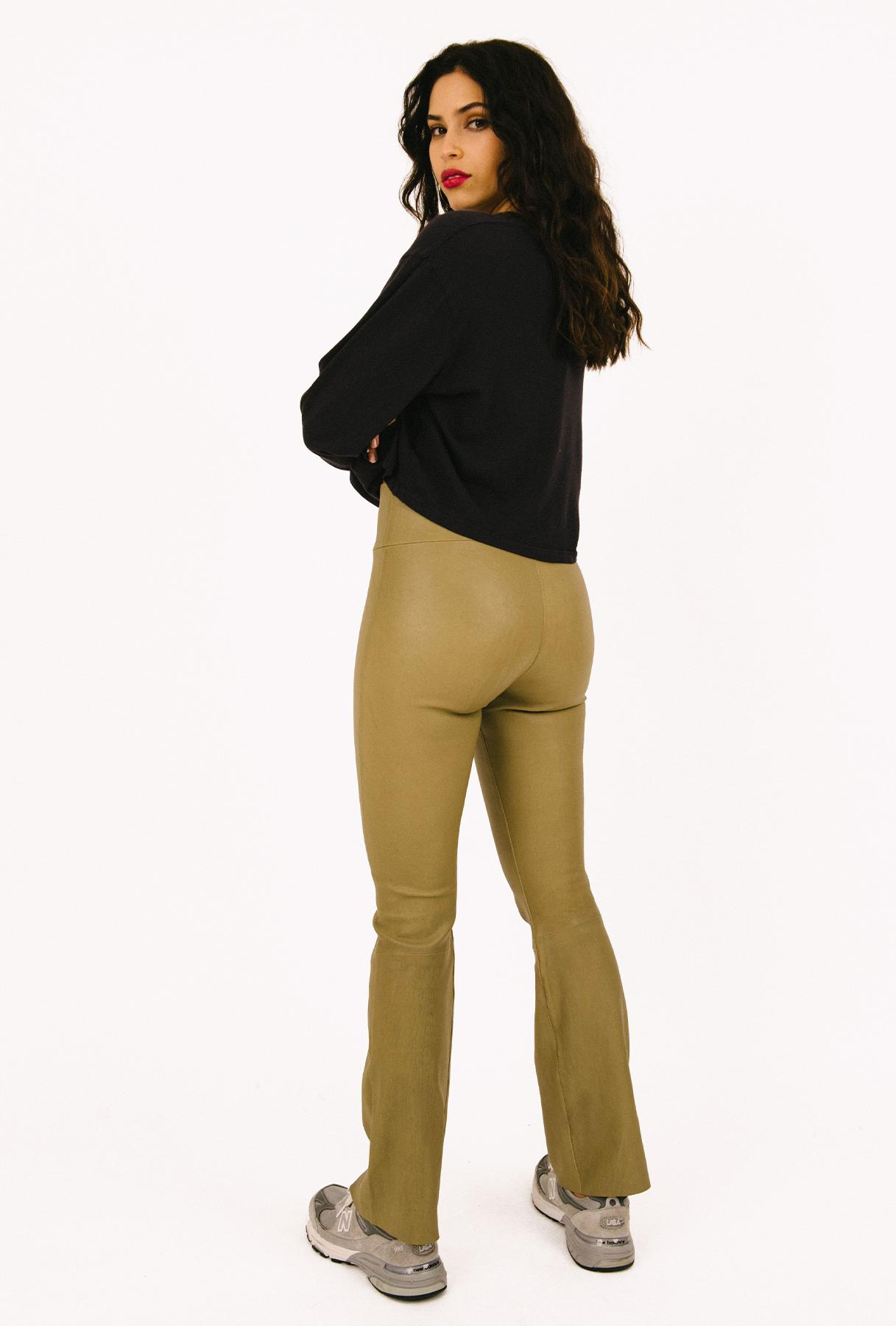 Moss Gold Leather Ankle Flare Legging
