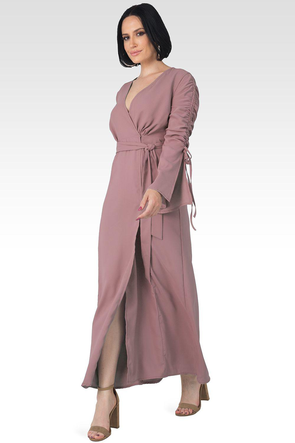 Violeta Solid Raspberry Ruched Sleeves Wrap Maxi Dress