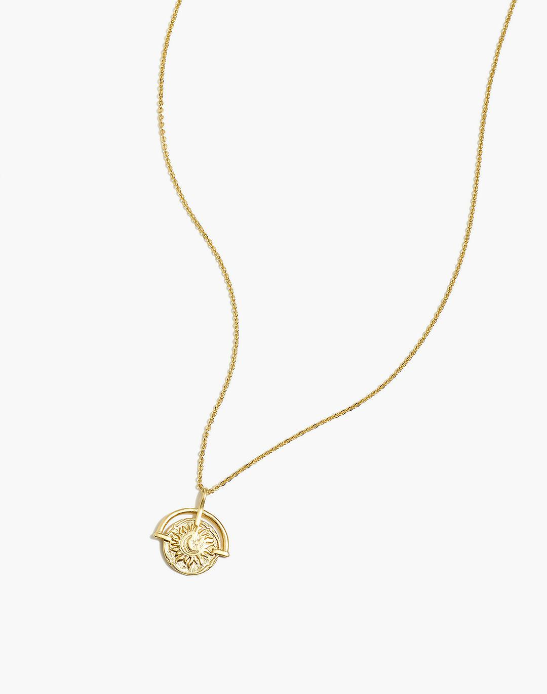 Sunray Coin Pendant Necklace