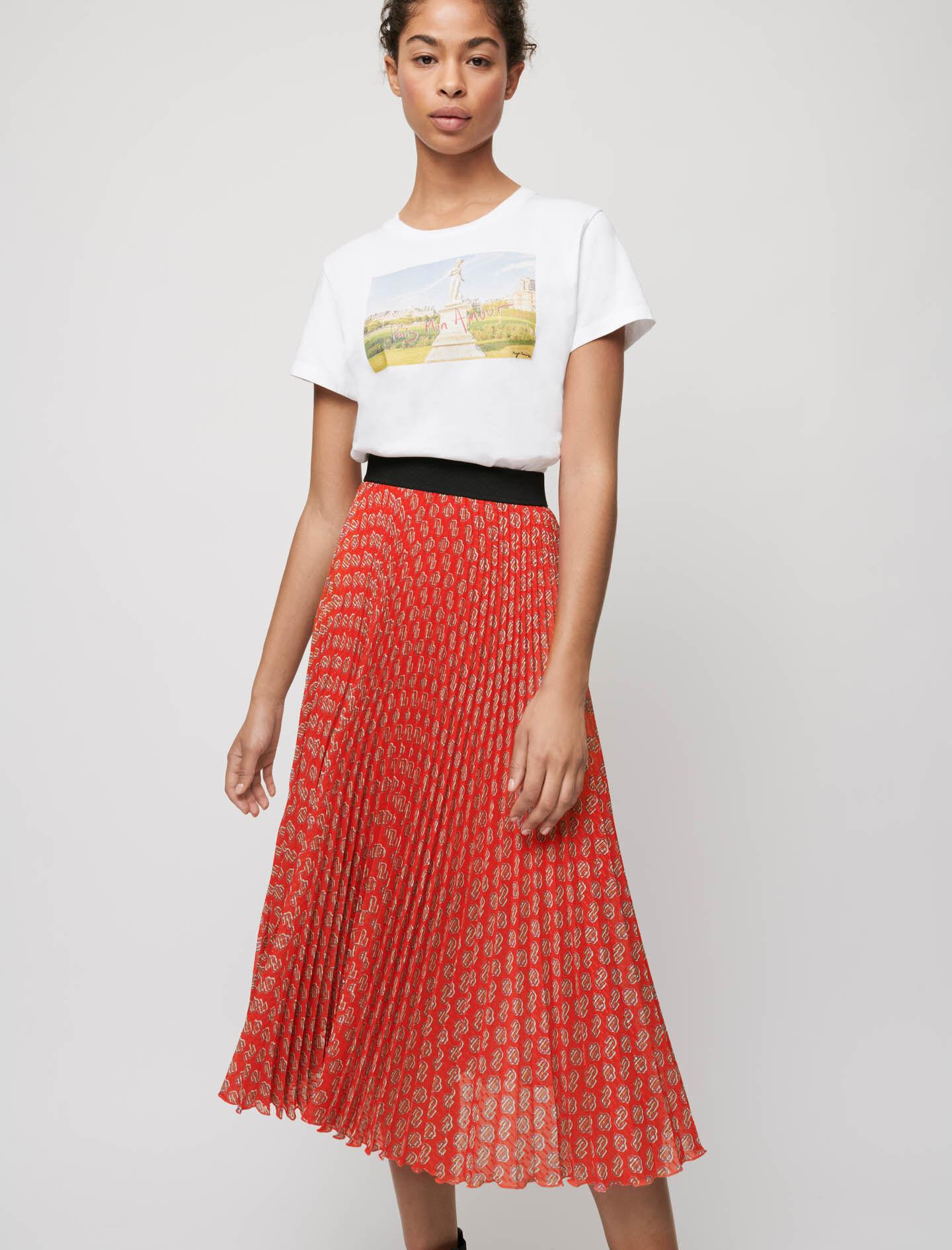 PLEATED SKIRT WITH MAJE PRINT