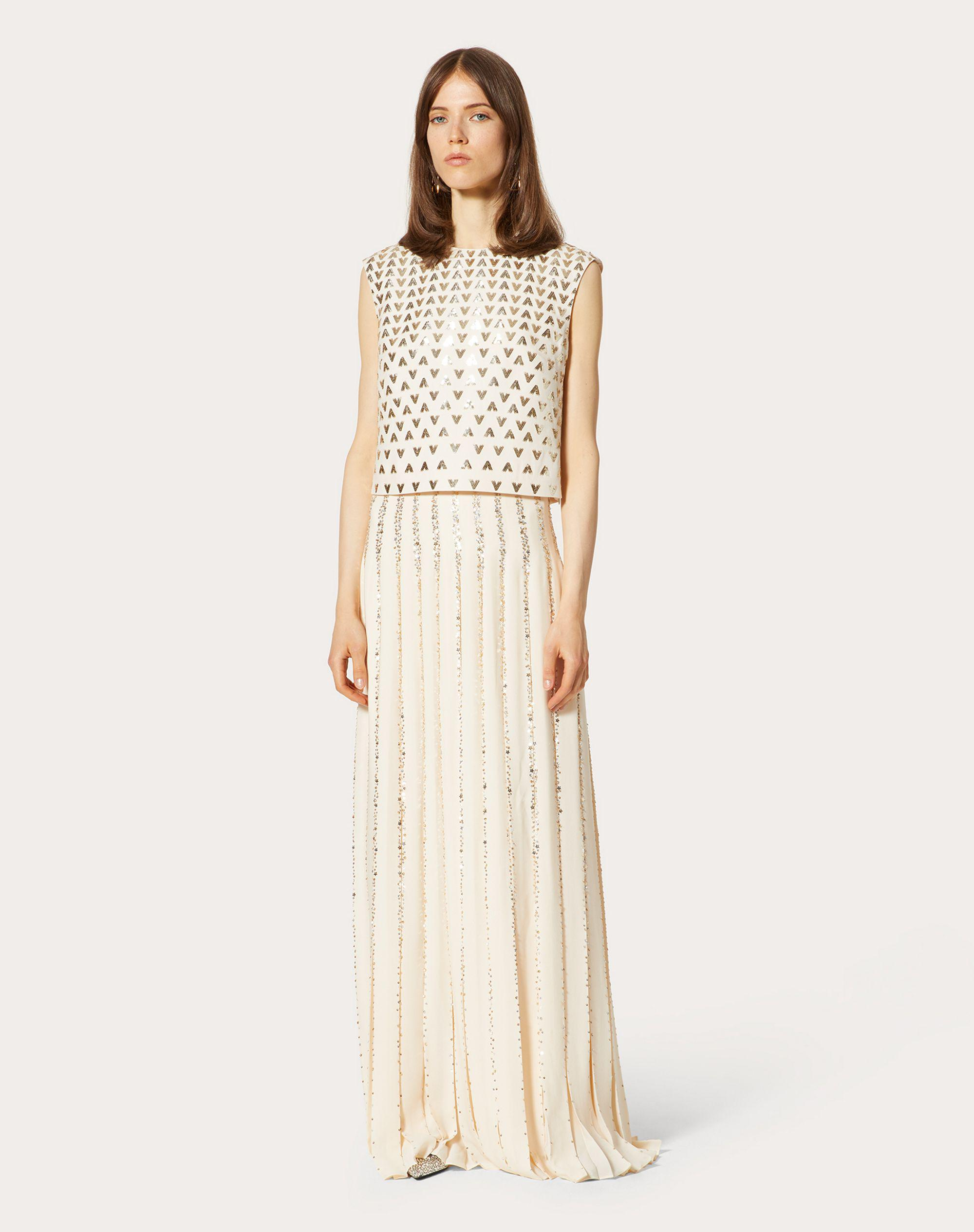 EMBROIDERED GEORGETTE EVENING DRESS 1