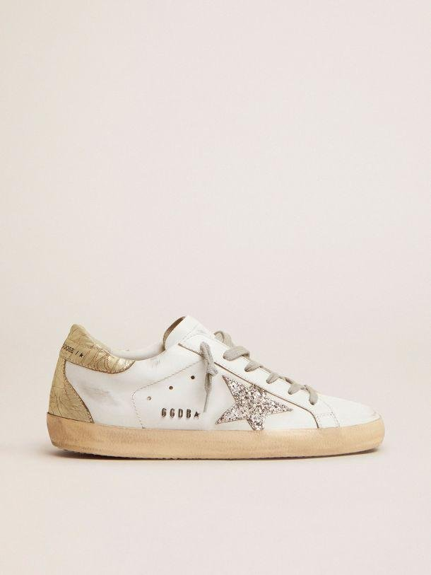 Super-Star sneakers with silver glitter star and glossy gold leather heel tab