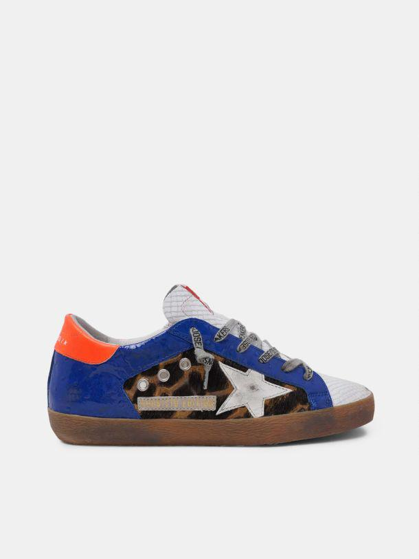 LAB Leopard-print and blue patent leather women's Super-Star sneakers