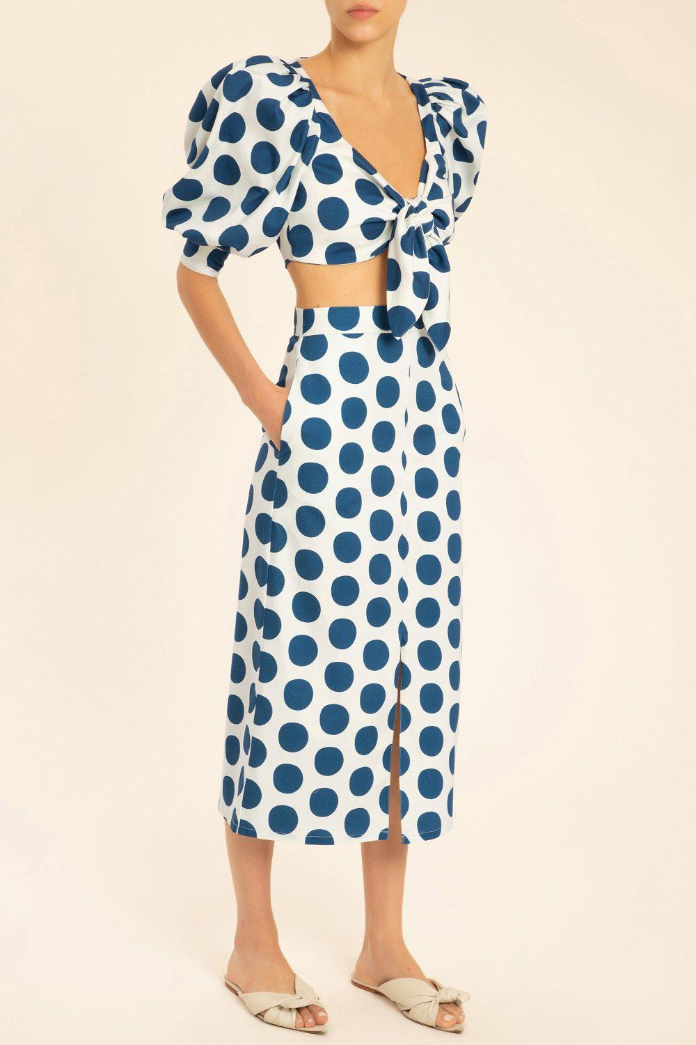 Pois Compose Puff-sleeved Cropped Blouse
