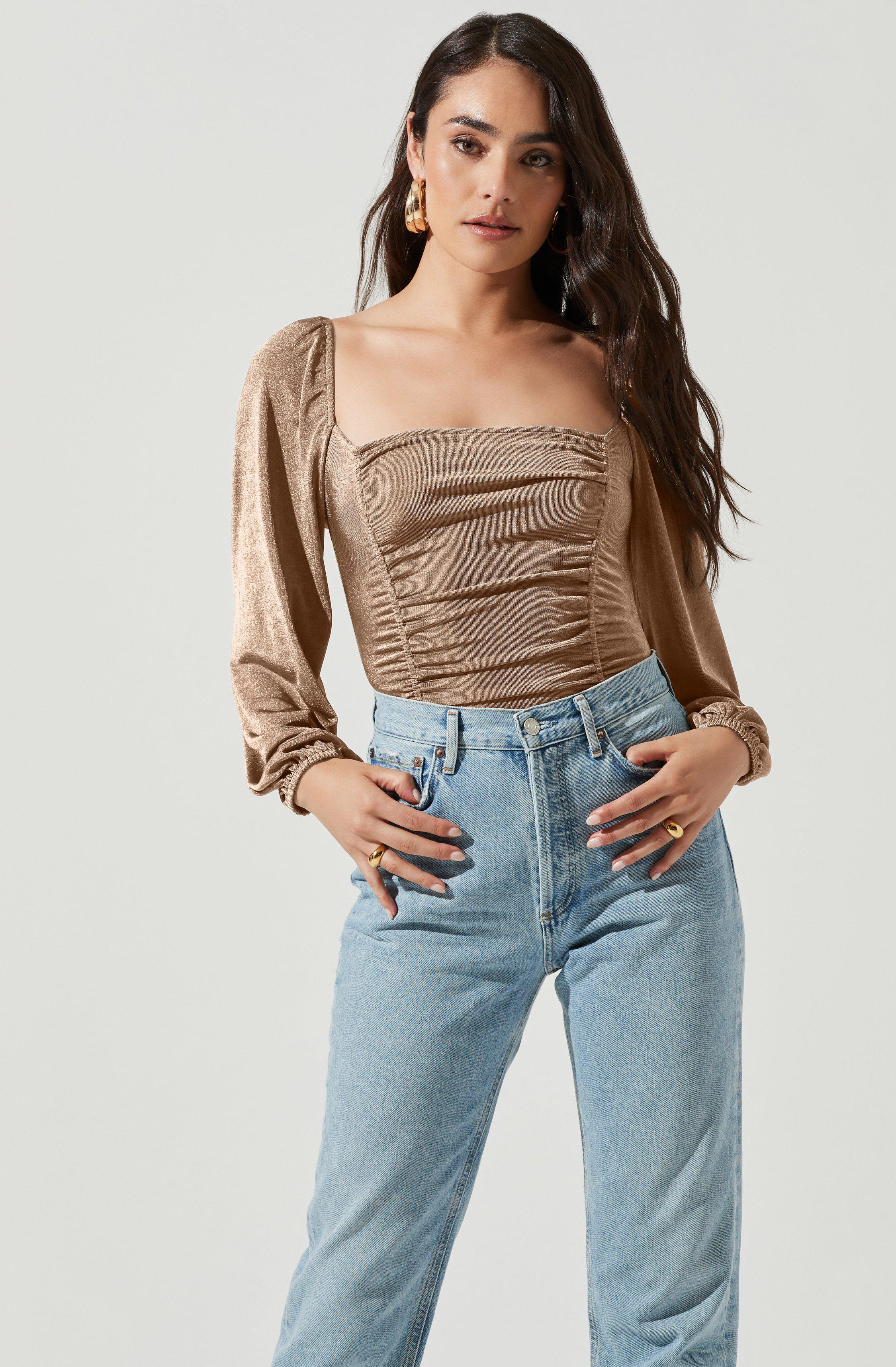 Ruched Long Sleeve Square Neck Bodysuit