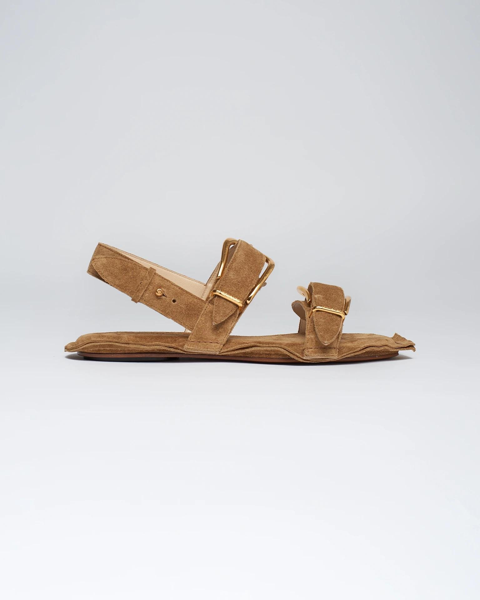 AKALA - Suede sandals - Curry