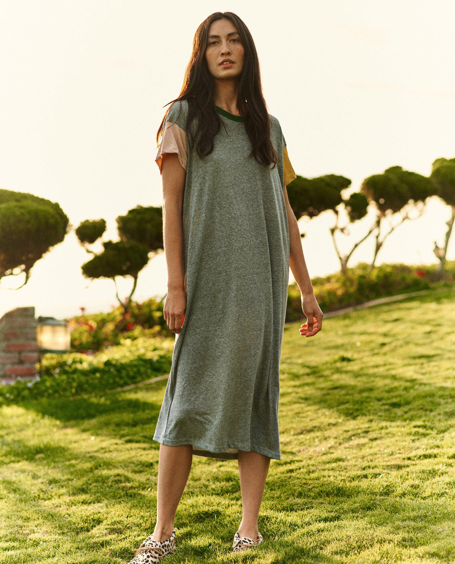 The Boxy Dress. -- Heather Grey with Multi Color Block 1