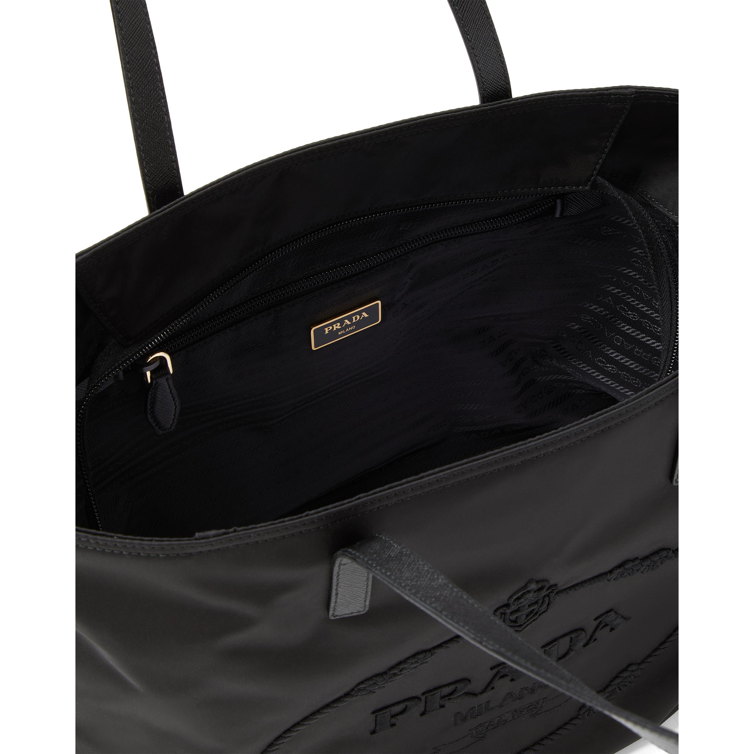 Nylon Tote With Embroidered Logo Women Black 4