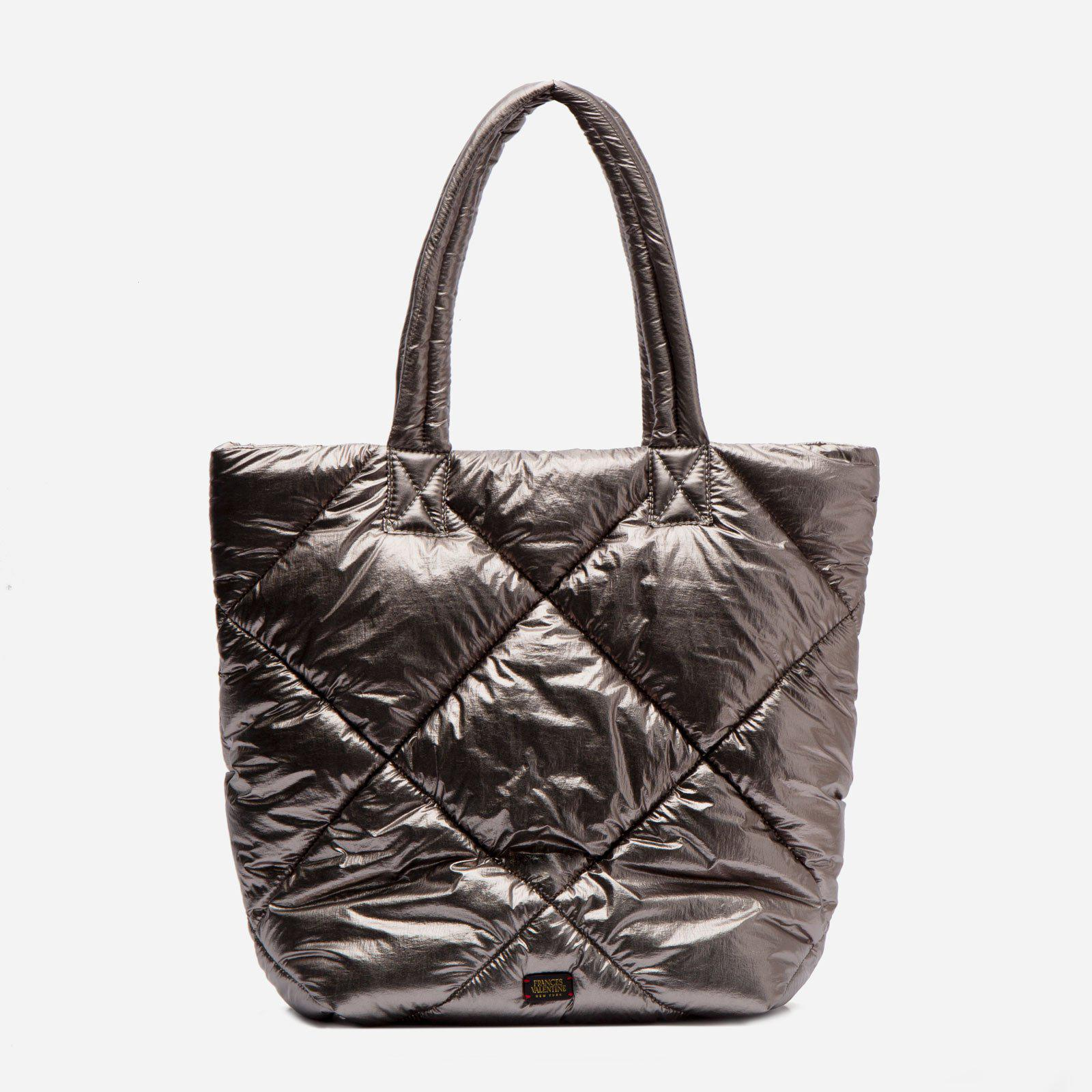 North South Tote Quilted Satin Nylon Silver