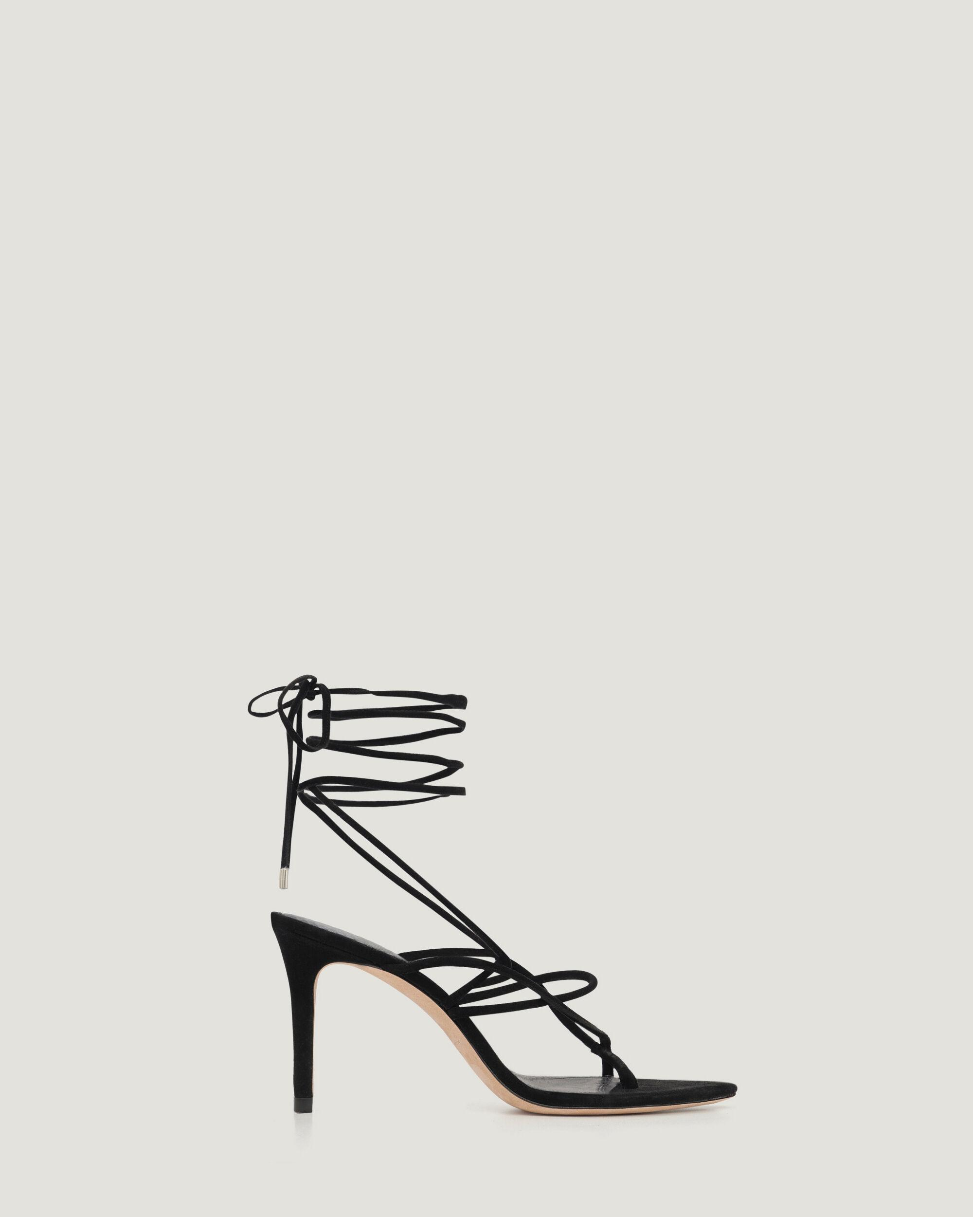 THEMIS LACE UP SUEDE HEELED SANDALS