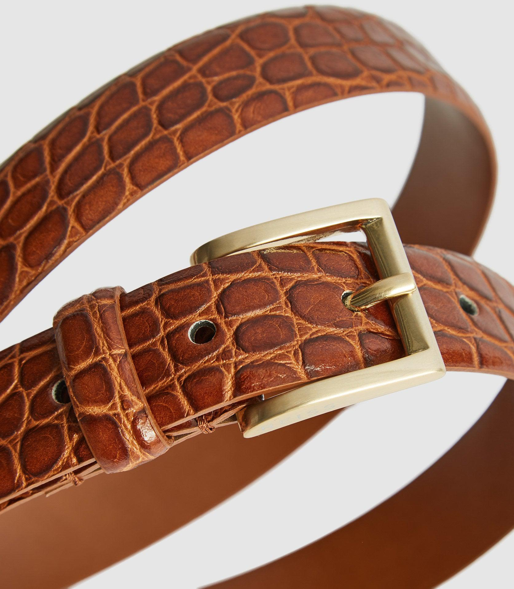 MOLLY - LEATHER CROC EMBOSSED BELT 1