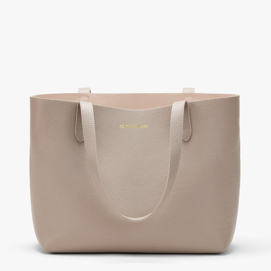 Women's Small Structured Leather Tote Bag in Stone/Blush Pink   Pebbled Leather by Cuyana 9