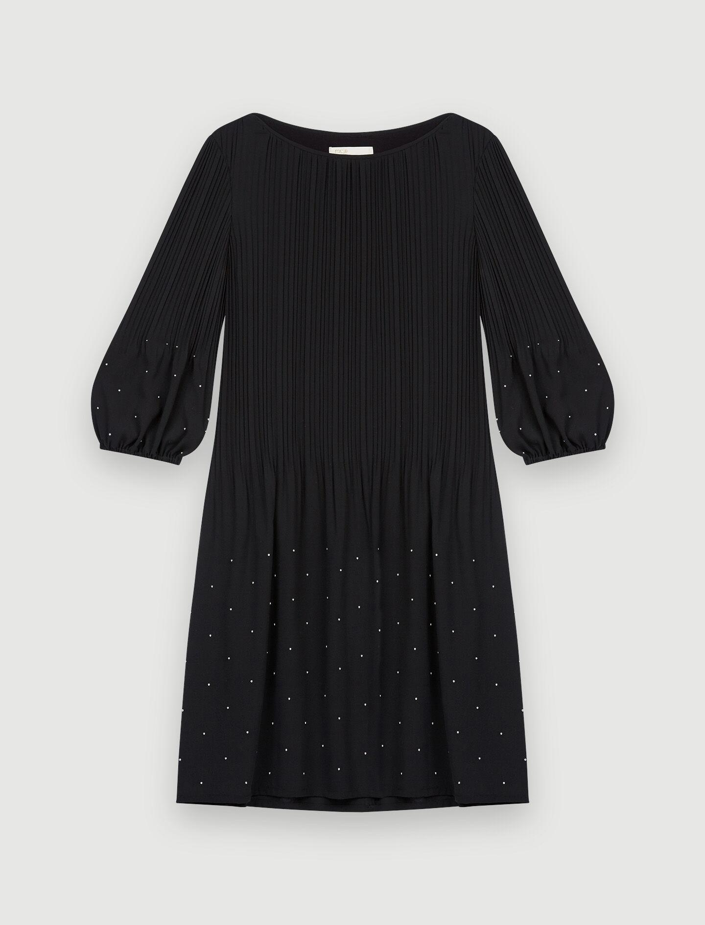 PLEATED FLOATY DRESS WITH STUDS