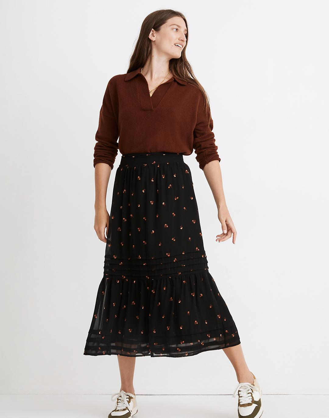 (Re)sourced Georgette Pintuck Maxi Skirt in Amie Floral